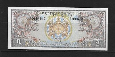 Bhutan 2 Ngultrums Paper Money Mint See Description (Cc37)