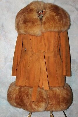 Vintage 70's Leather Suede Coat Lamb Fur?  Hippy Boho GIRL INTERRUPTED  Tag16sz