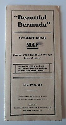 RARE EXCELLENT 1929 Beautiful Bermuda Cyclist Road Map Fold-Out - Bicycle