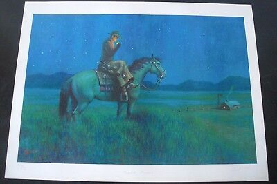 "Western Themed Art Print - ""Night Rider"" - Signed and Numbered - Cowboy"
