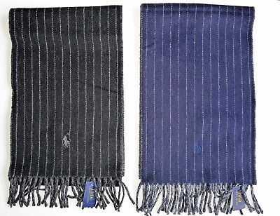 NWT POLO-RALPH LAUREN Pinstripe Virgin Wool Scarf Made in Italy