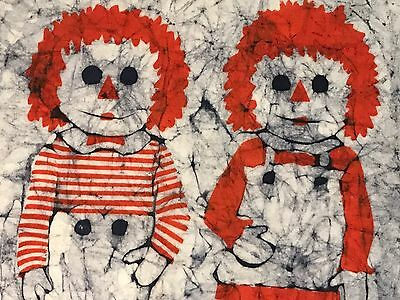 Vintage 70s Cloth Silkscreen Raggedy Ann Andy Wall Hanging Art Children Retro