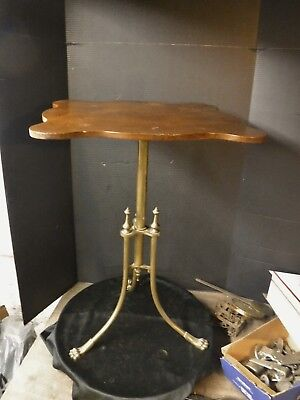 Antique English Victorian Brass Table Pedestal Plant stand Clawfoot