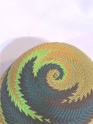 Gorgeous Colors! Well Made Zulu African Telephone Wire Basket 4-1/2 Diameter