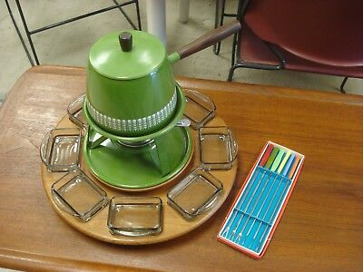 """18-1/2"""" Vintage DIGSMED Denmark LAZY SUSAN Serving Tray WITH FONDUE INCLUDED"""