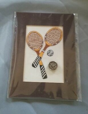 Embroidered Tennis Rackets and Tennis Ball + Button Framed Wall Art
