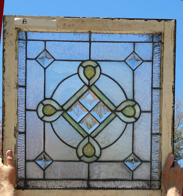 antique American STAINED Leaded GLASS Window w/ JEWELS & BEVELS *B*