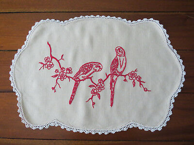 Vintage Large Table Center Piece Doily with Embroidered Parrots