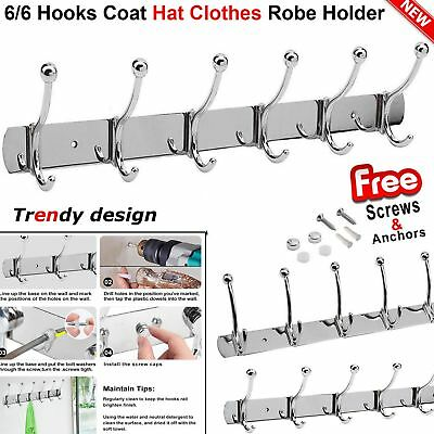 6/6 Hooks Coat Hat Clothes Robe Holder Racks Door Wall Hanger Stainless Steel