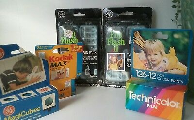 Lot of expiref film and flash cubes technicolor flip flash magicubes kodak