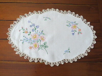 Vintage Large Embroidered Linen Floral Doily