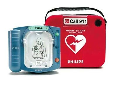 Philips HeartStart Home AED Defibrillator with Red Case and Wall Cabinet