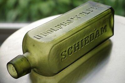 Beautiful Olive Green ~ Udolpho Wolfe's Schiedam Schnapps Bottle ~ Applied Top