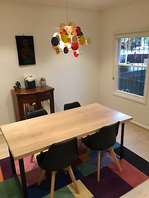 Industrial Dining Table Custom Built in Melbourne and 4 Black Freedom Chairs