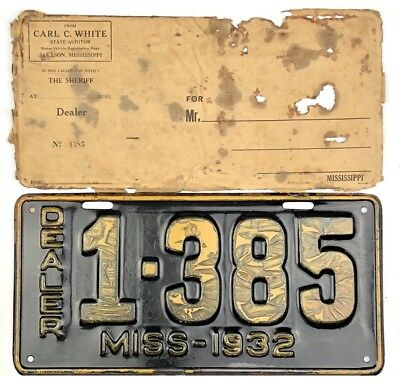 NOS 1932 Mississippi DEALER License Plate ALL ORIGINAL W/ Front Of Orig Envelope