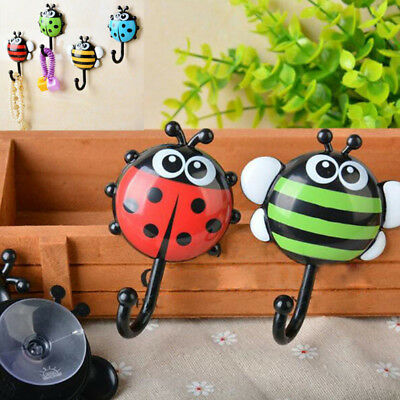 EP_ HK- 2 Pcs Cute Cartoon Ladybug Bee Suction Wall Mount Bathroom Kitchen Hooks
