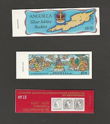 3 MUH Booklets.2 from  Anguilla & 1 from Grenadines of St. Vincent. See Photo