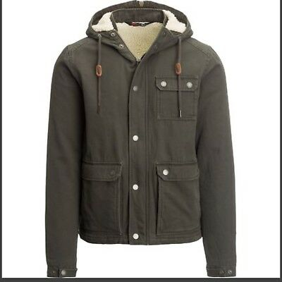 2a5ead3c9 Mens Sherpa Lined Work Jacket Hood Insulated Coat Warm Winter Clothes  Durable