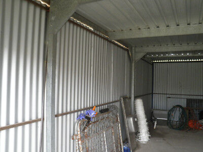 Galvanized steel shed in good condition 7mtr long, 3 mtr wide and 2.5 mtr high.
