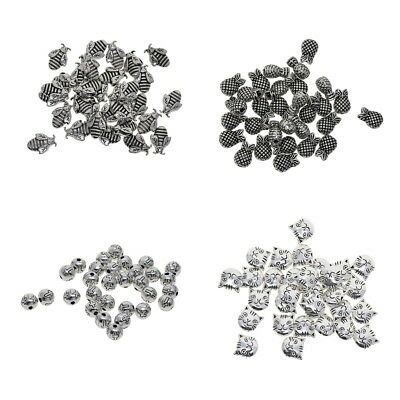 Assorted Shapes 1.5-2mm Hole Tibetan Silver Spacer Beads Jewelry Making 30pc