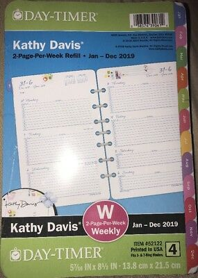 Day-Timer Kathy Davis 2019 Planner Refill 2 Pages Per Week Size 4 52122