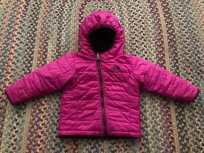 Girls North Face Reversible Jacket Size 12-18 Months Puffer Pink Hooded