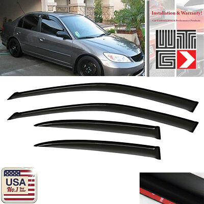 Out Channel 2.0mm Visors Wind Rain Guard For Honda Civic SI 3DR 2002-2005 2pcs