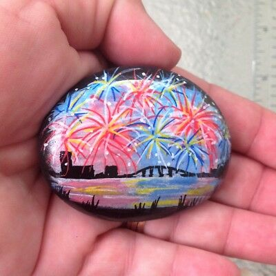FIREWORKS patriotic JULY 4th fourth    hand- painted RIVER ROCK stone OOAK art