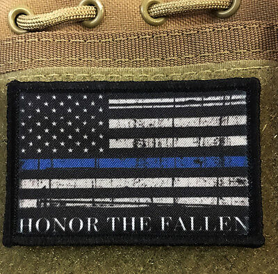 Honor the Fallen Police Morale Patch Thin Blue Line Tactical Military Flag USA