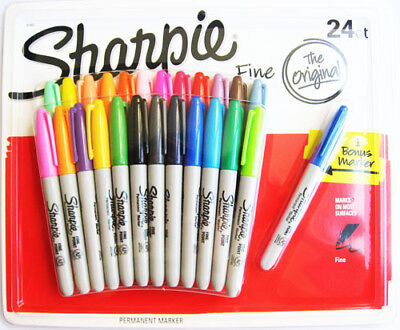Brand New SHARPIE 24 Pack Coloured Fine Point Permanent Marker Pen Set + Bonus