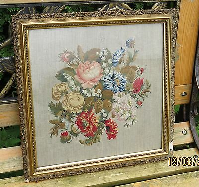 STUNNING VINTAGE FLORAL TAPESTRY, beautifully sewn and framed with age defects.