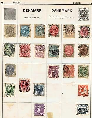 Denmark 1875 to 1933 collection on 2 album pages 50+ stamps Used