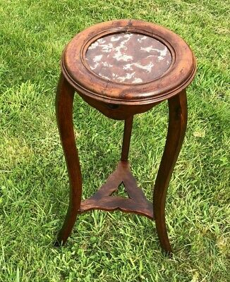 Beautiful Antique Vintage Small Jardiniere Plant Stand Wooden Table Marble Top *
