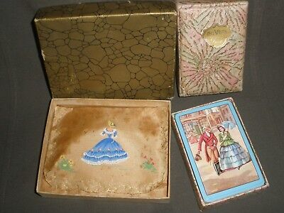 VINTAGE CRINOLINE LADY Powder Puff Pouch Boxed & Playing Cards