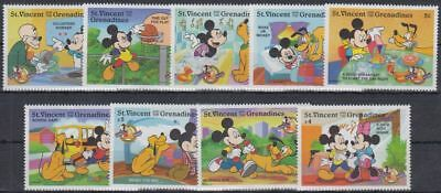 Disney Cartoons / Day In Life of Mickey St. Vincent set of 9 stamps MNH #DS337