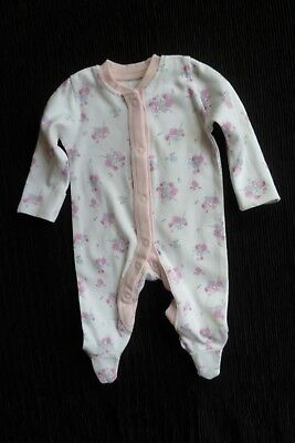 Baby clothes GIRL premature/tiny<7.5lb/3.4k white/pink floral babygrow SEE SHOP!