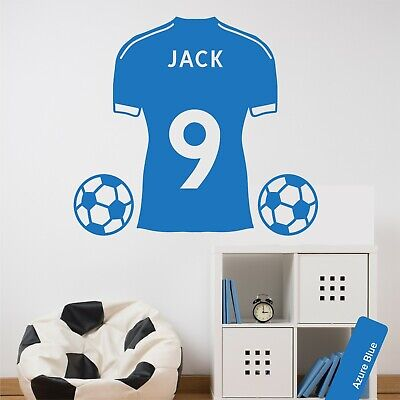 Personalised Football Shirt Custom Name & Number Wall Sticker Boys Kids Bedroom