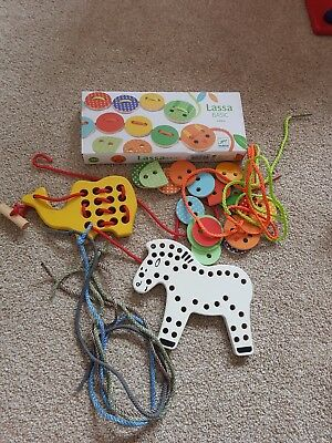 wooden threading/lacing toys/sensory/early years resources(haba,djeco)