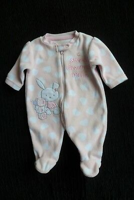 Baby clothes GIRL newborn 0-1m pink hearts zip Millie fleece sleepsuit SEE SHOP