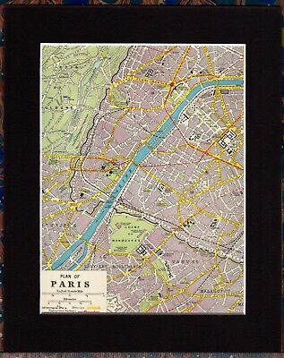 Antique MAP ~ PARIS Street Plan FRANCE French ~ 1920 MOUNTED 90+ Years Old