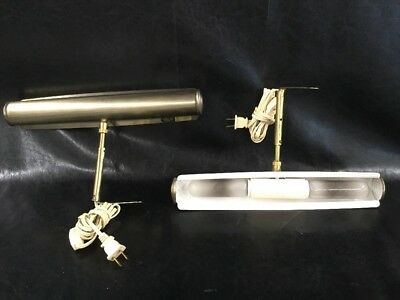 PAIR VINTAGE BRASS Electric Wall Lamps Lights Hobby Hill E38782 TESTED  WORKING