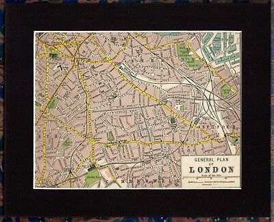 Antique MAP ~ DEPTFORD Bermondsey CAMBERWELL London ~ 1920 MOUNTED 90+ Years Old