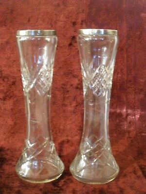 VINTAGE PAIR OF SILVER TOPPED CRYSTAL VASES 22cm high VERY GOOD CONDITION