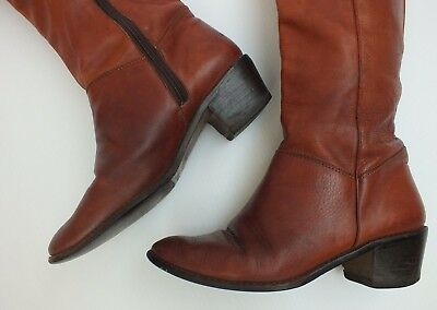 Vintage Catleia Leather Boots 70S Boho Brown Riding Boots Heels Shoes 7 B