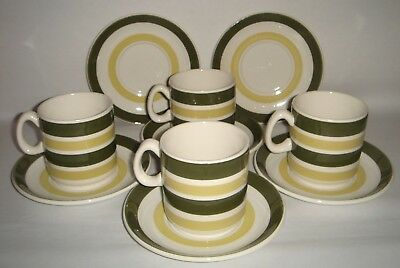 4 Cups 6 Saucers 'Evergreen' STAFFORDSHIRE POTTERIES LTD. Banded Pattern Retro