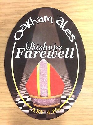 Bishops Farewell Mitre Real Ale Beer Pump Clip: Oakham Brewery OVAL  NEW UNUSED
