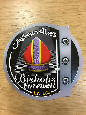 Bishops Farewell Mitre Real Ale Beer Pump Clip: Oakham Brewery: ROUND VERSION