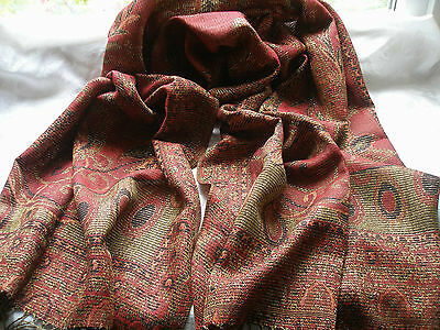 D255 Red Mid Tone Gold Glitter Paisley Floral Winter Ladies Scarf Pashmina
