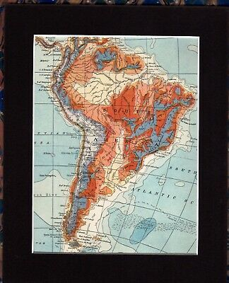 Antique MAP ~ SOUTH AMERICA ~ 1920 MOUNTED 90+ Years Old