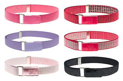 Girls Glitter Elastic Belt Childrens Elasticated Hook & Loop Belts 2-9 Yrs